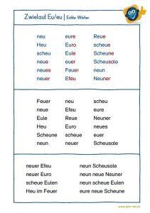 Zwielaut eu - Echte Wörter