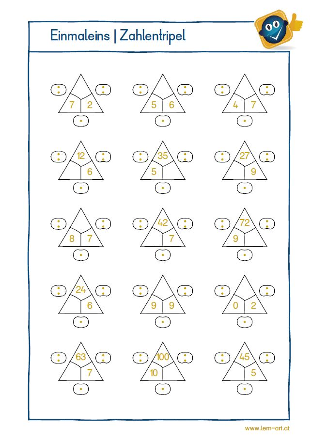 Arbeitsblatt Einmaleins Zahlentripel