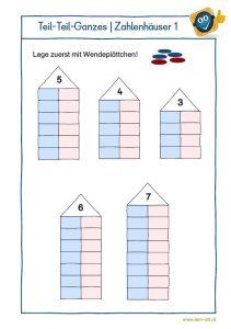 Zahlenzerlegung mit Zahlenhäusern