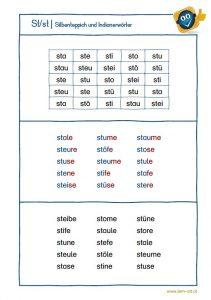 Konsonantencluster st - Silbenteppich und Indianerwörter